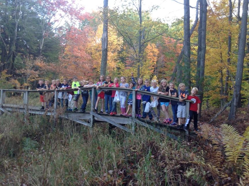 Students on a bridge