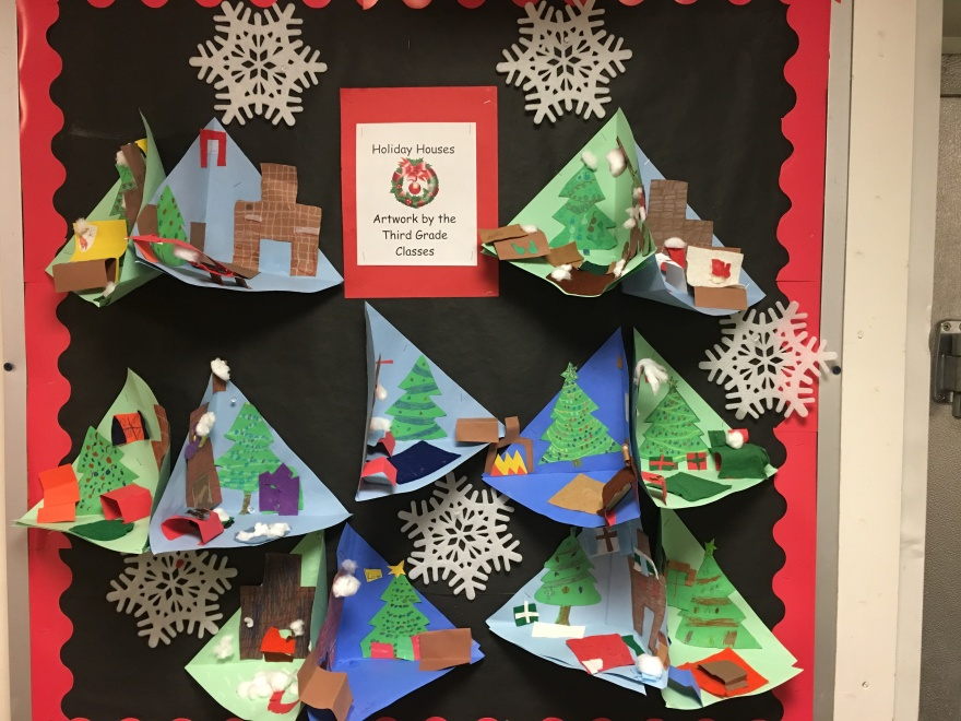 Holiday houses, artwork by the third grade classes